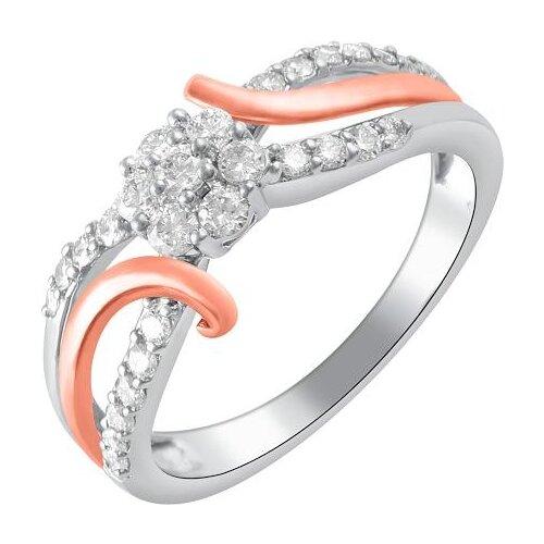 цена ЛУКАС Кольцо с 27 бриллиантами из комбинированного золота R01-D-MG-035, размер 17.5 онлайн в 2017 году