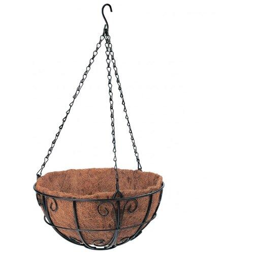 Фото - Кашпо PALISAD подвесное с декором, 30 см, 69010 черный/коричневый подвесное кашпо с орнаментом 30 см с кокосовой корзиной palisad