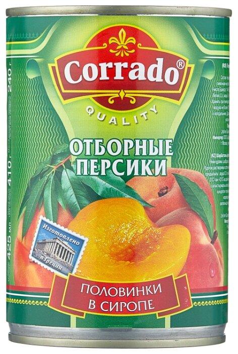 Консервированные персики Corrado половинки в сиропе, жестяная банка 410 г