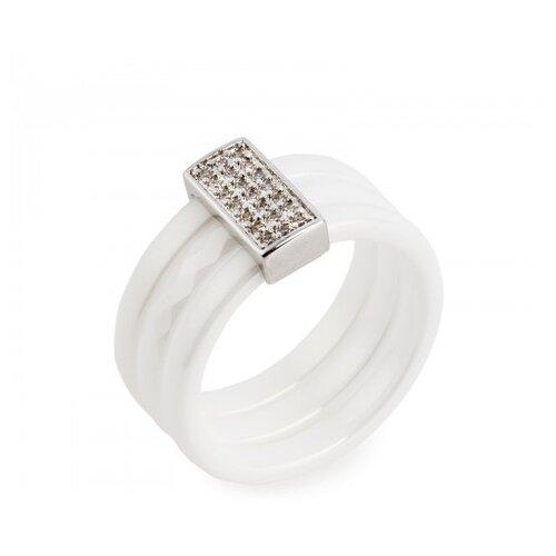 Kuro Hana Кольцо керамическое широкое (белый/серебристый), размер 20