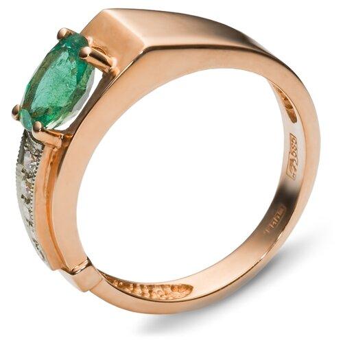 Эстет Кольцо с 5 бриллиантами, изумрудом из красного золота 32К610059, размер 16 ЭСТЕТ