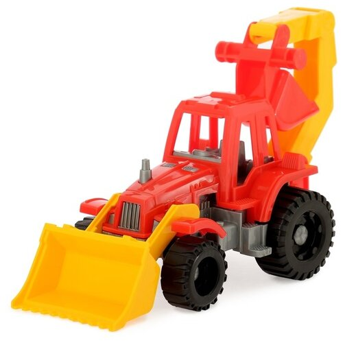 Трактор Нордпласт Ижора грейдер и ковш (152) 21.5 см красный/желтый/серый машины нордпласт трактор ижора с ковшом