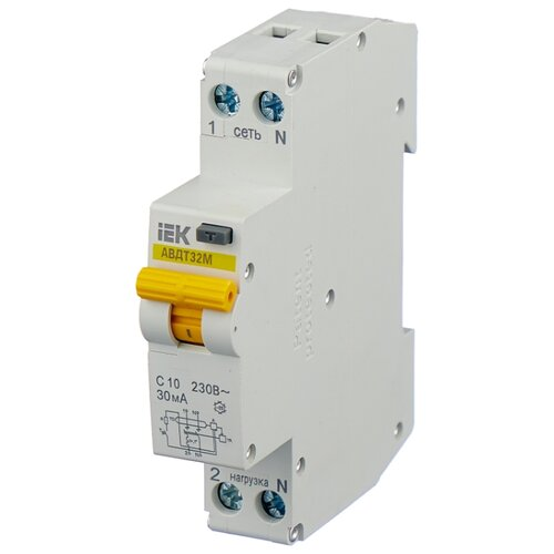 цена на Дифференциальный автомат IEK АВДТ 32М 2П 30 мА C 10 А