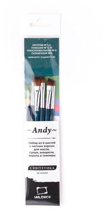 Набор кистей Малевичъ Andy синтетика, с короткой ручкой, 6 шт. (753906)
