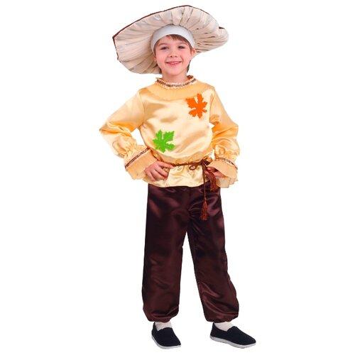 Купить Костюм пуговка Белый гриб (2067 к-19), бежевый/коричневый, размер 134, Карнавальные костюмы