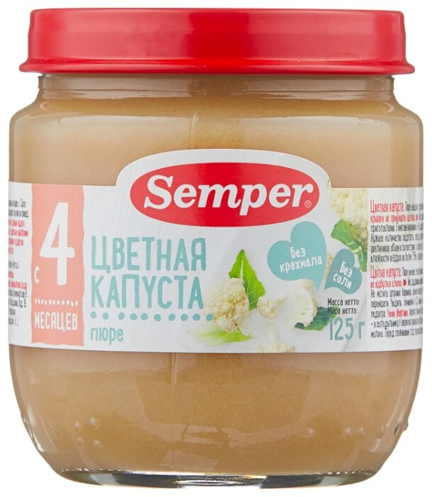 Пюре Semper цветная капуста (с 4 месяцев) 125 г, 1 шт