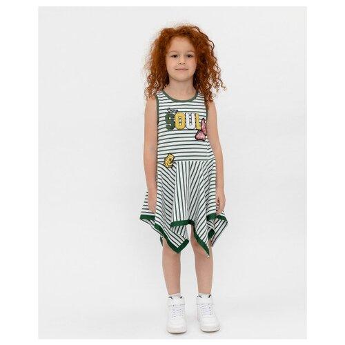 Купить Платье Gulliver размер 98, белый/полоска, Платья и сарафаны