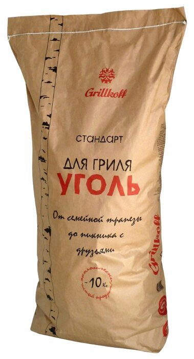 Grillkoff Уголь березовый для гриля «Стандарт», 10 кг