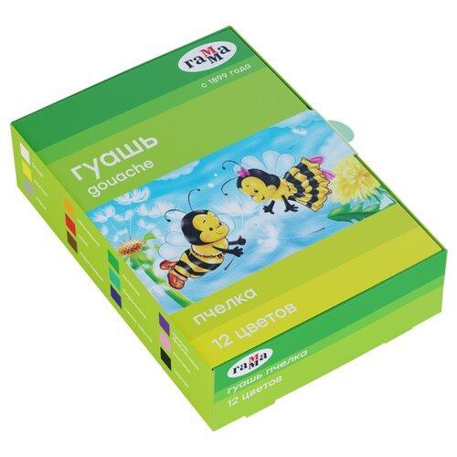 Купить ГАММА Гуашь Пчелка 12 цветов х 20 мл (221014_12), Краски