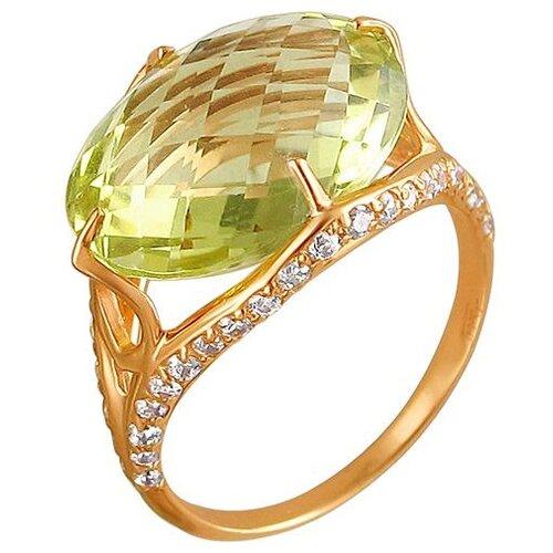 Эстет Кольцо с кварцем и фианитами из красного золота 01К315085-5, размер 16 эстет кольцо с 5 фианитами из красного золота 01к115186 размер 16
