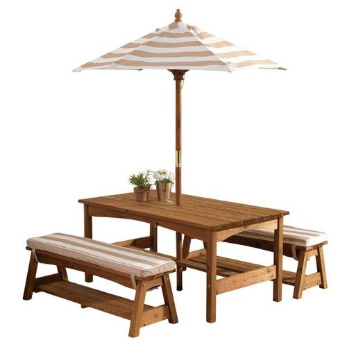 Комплект мебели KidKraft (стол, 2 скамейки, зонт), бело-коричневые полосы