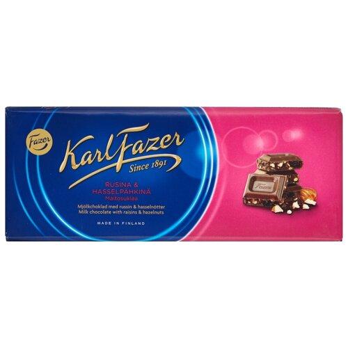 Шоколад Fazer молочный с фундуком и изюмом 30% какао, 200 г karl fazer молочный шоколад с крошкой соленой карамели 200 г