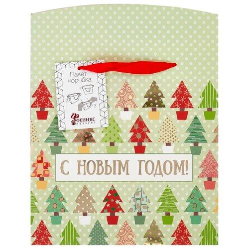 Пакет подарочный Феникс Present Разноцветные ёлочки 20 х 22.5 х 13.5 см белый/красный цена 2017