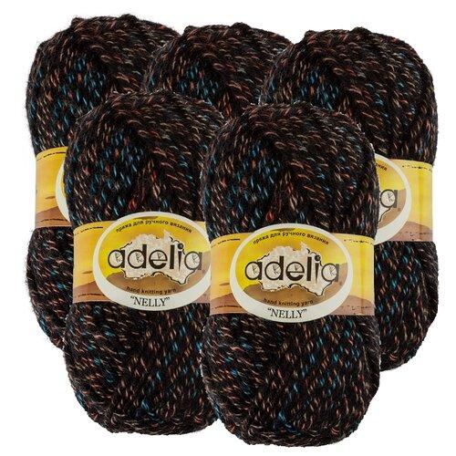 Купить Пряжа Adelia Nelly мелажевая, 70 % шерсть, 30 % акрил, 100 г, 100 м, 5 шт., №19 черный-голубой-оранжевый