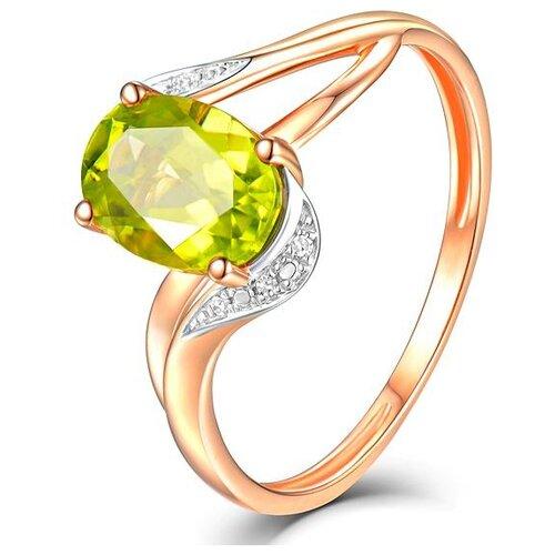 ЛУКАС Кольцо с перидотом и бриллиантами из красного золота R01-D-69018R001-R17, размер 17 бронницкий ювелир брошь из красного золота h01 d hru1105aru r17