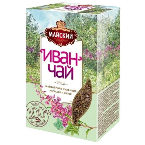 Чай зеленый Майский Иван-чай с мелиссой и мятой, 75 г майский чайная матрешка синяя черный листовой чай 30 г