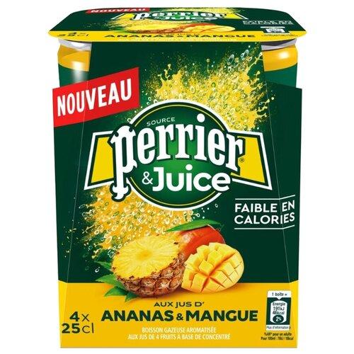 Газированный напиток Perrier ананас и манго, 0.25 л, 4 шт.