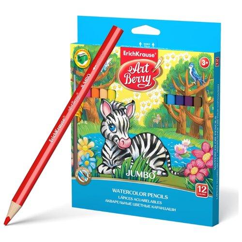 Купить ErichKrause Акварельные карандаши трехгранные ArtBerry Jumbo 12 цветов с кисточкой и точилкой (32477), Цветные карандаши