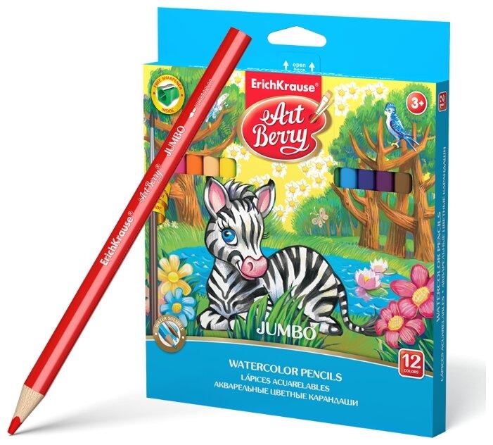 ErichKrause Акварельные карандаши трехгранные ArtBerry Jumbo 12 цветов с кисточкой и точилкой (32477)
