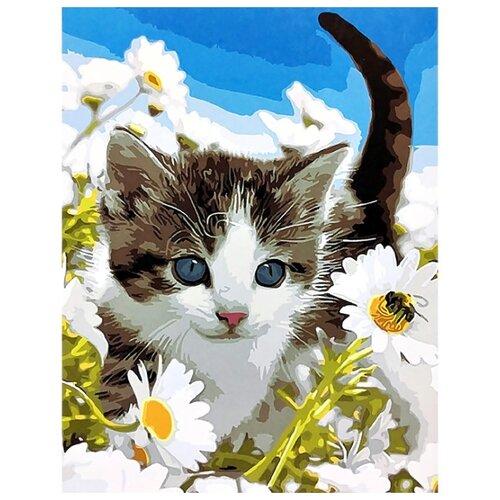 Купить ВанГогВоМне Картина по номерам Котенок в ромашках , 40х50 см (ZX 20207), Картины по номерам и контурам