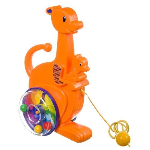 Купить Каталка-игрушка Пластмастер Кенгуру (12105) со звуковыми эффектами оранжевый, Каталки и качалки