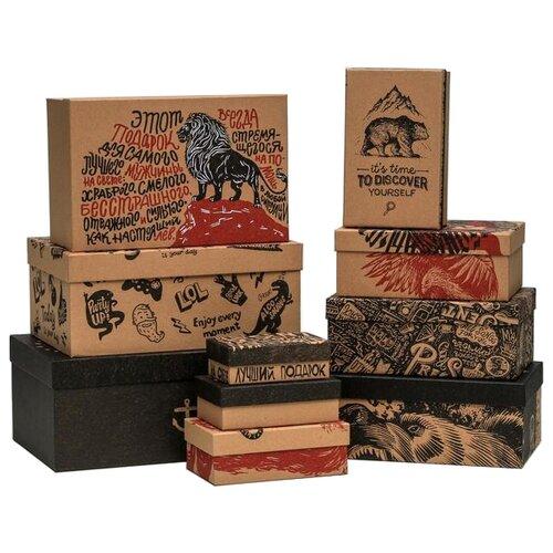 Фото - Набор подарочных коробок Дарите счастье Брутальность, 10 шт. бежевый/красный/черный набор подарочных коробок дарите счастье универсальный 10 шт бежевый белый черный