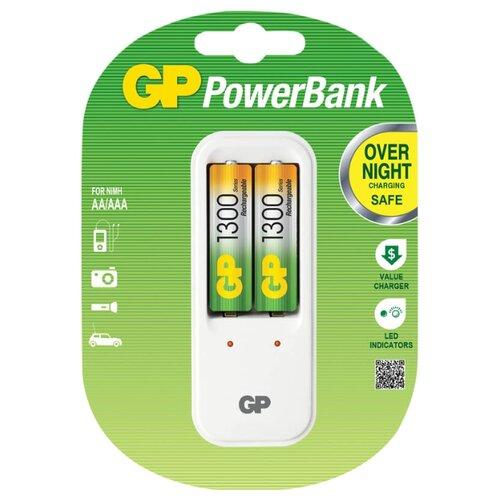 Фото - Аккумулятор Ni-Mh 1300 мА·ч GP Rechargeable 1300 Series AA + Зарядное устройство PowerBank 2 шт блистер зарядное