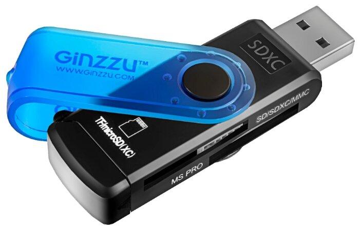 Картридер внешний Ginzzu GR-412B SD/SDHC/MicroSD/MicroSDHC/MS/MS Duo/MS PRO Duo/M2 черно-синий