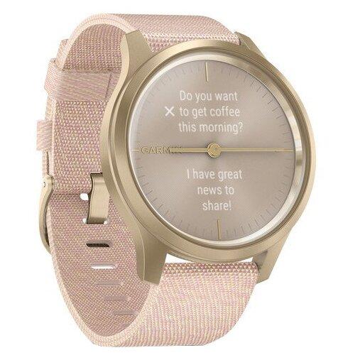 Умные часы Garmin Vivomove Style с плетеным нейлоновым ремешком, светло-золотистый/розовый
