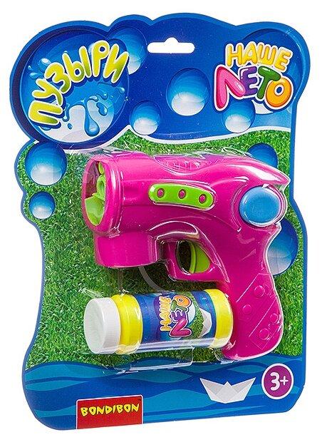 Пистолет Bondibon на батарейках с мыльными пузырями Наше Лето ВВ2783 110 мл