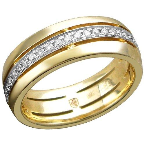 Эстет Кольцо с 45 бриллиантами из жёлтого золота 01О630453, размер 16