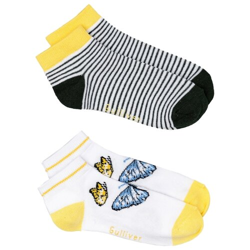 Носки Gulliver Baby комплект 2 пары размер 18-20, белый/черный/желтый