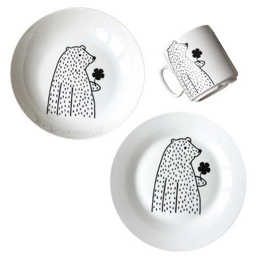 Фото - Набор для завтрака Сотвори Чудо Цветочный мишка белый/черный тарелка сотвори чудо линия 20 см белый