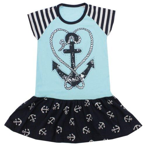 Платье iBala размер 36 (104-110), голубой/темно-синий футболка для мальчика batik цвет темно синий голубой ds0173 10 11 размер 110