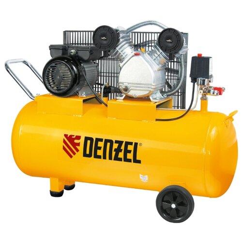 Компрессор масляный Denzel PC 2/100-370, 100 л, 2.2 кВт компрессор масляный denzel oc 1 24 206 24 л 1 5 квт
