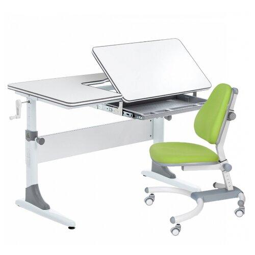 Комплект Anatomica Smart-40 парта + кресло белый/серый с зеленым креслом K639 комплект anatomica smart 60 парта study 120 lux кресло armata duos надстройка органайзер ящик клен серый зеленый