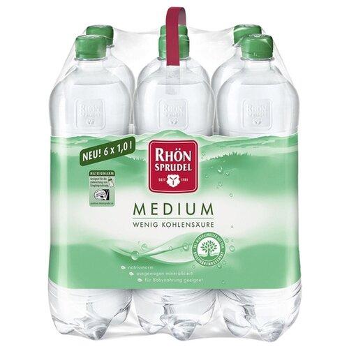 Минеральная вода Rhon SPRUDEL Medium газированная, ПЭТ, 6 шт. по 1 л