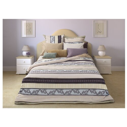 Постельное белье 2-спальное Sova & Javoronok Спокойный сон 70х70 см, сатин бежевый/голубой