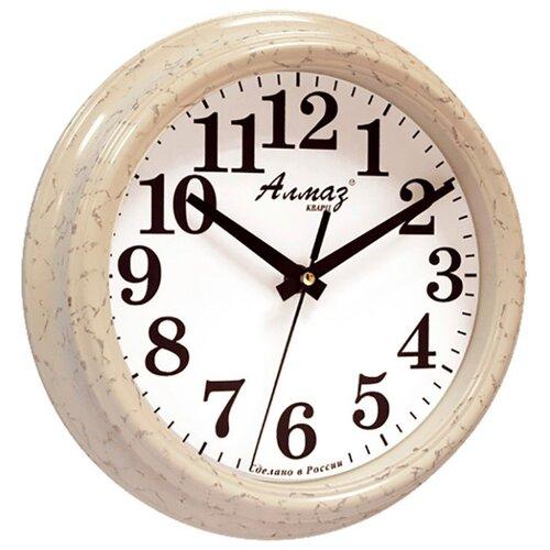 Часы настенные кварцевые Алмаз C69/C70 светло-бежевый/белый часы настенные кварцевые алмаз h32 h35 светло бежевый белый