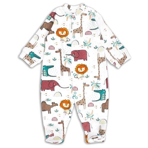 Комбинезон Веселый Малыш размер 74, белый/зеленый/светло-коричневый пижама веселый малыш размер 74 зеленый