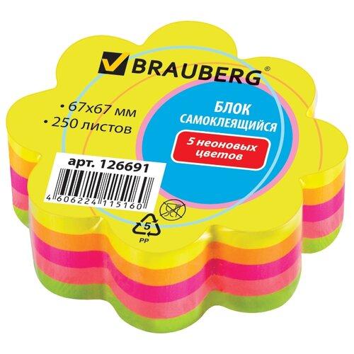 Купить BRAUBERG блок самоклеящийся неоновый в форме цветка, 250 листов (126691) желтый/розовый/зеленый, Бумага для заметок