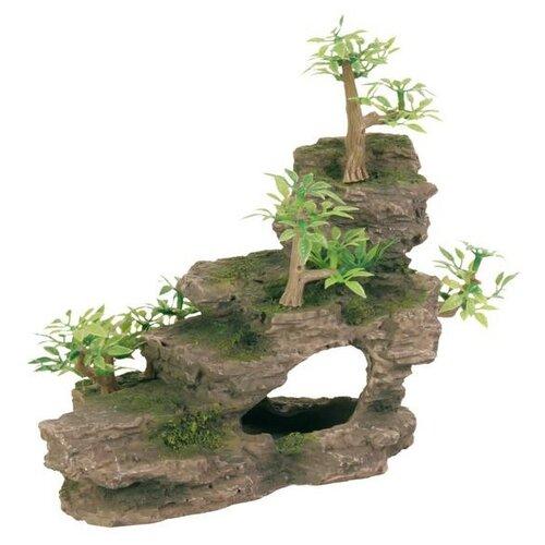 Грот TRIXIE Каменная лестница с растениями высота 19.5 см зеленый/коричневый