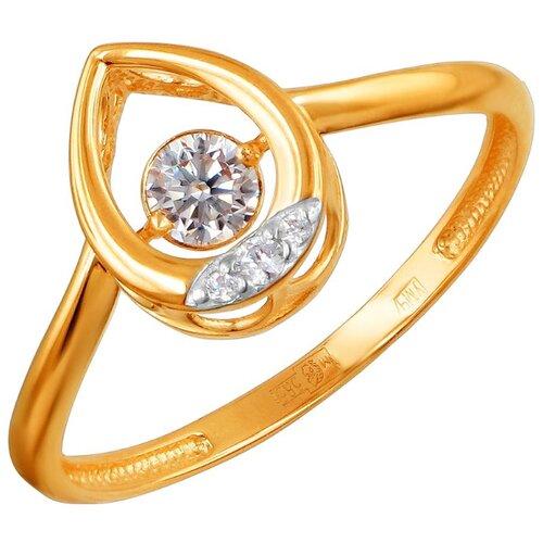 Эстет Кольцо с 4 фианитами из красного золота 01К1111864Р, размер 18 ЭСТЕТ
