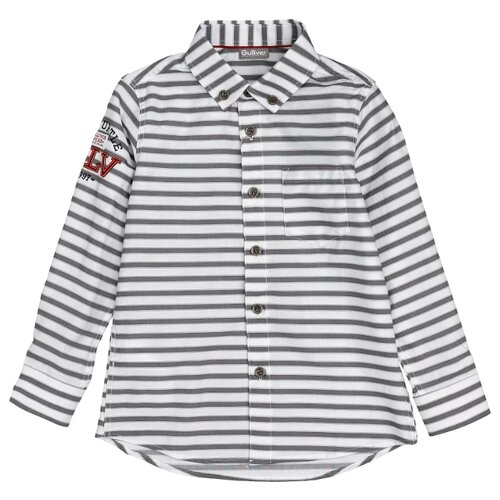 Купить Рубашка Gulliver размер 128, белый/серый, Рубашки