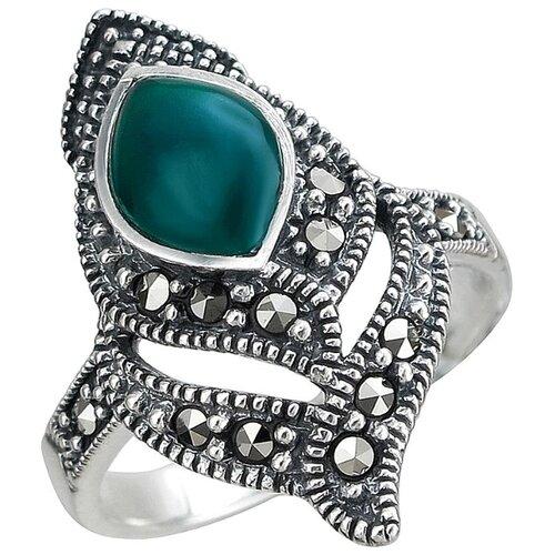 Эстет Кольцо с хризопразами и марказитами из чернёного серебра С26К451184Ч, размер 19 кольцо с хризопразами из чернёного серебра