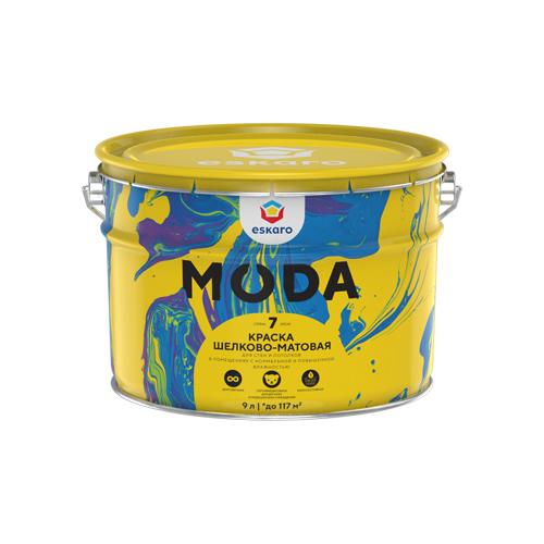 Краска акриловая Eskaro Moda 7 влагостойкая полуматовая белый 9 л