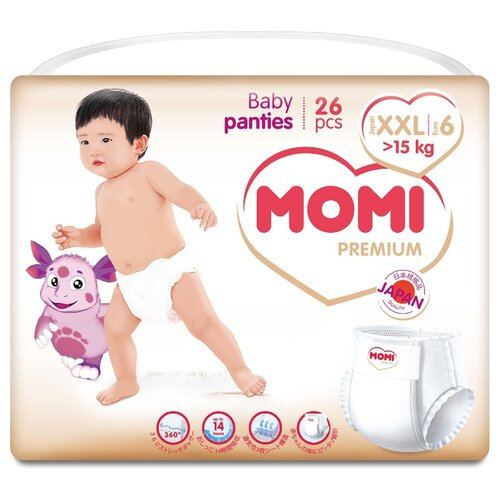 Momi трусики Premium XXL (от 15 кг) 26 шт. momi трусики m 6 10 кг 44 шт