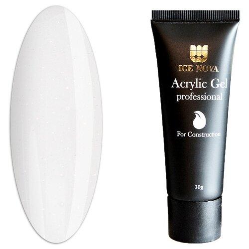 Купить Акригель ICE NOVA Acrylic Gel Professional моделирующий с шиммером, 30 г. №4 белый