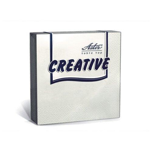 Салфетки ASTER Creative 3 слоя, 24х24 белые 20шт/уп, 2 уп