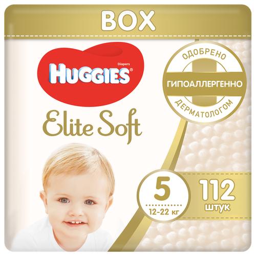 Купить Huggies подгузники Elite Soft 5 (12-22 кг), 112 шт., Подгузники